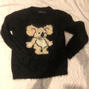 Fuzzy koala bear pull over sweater